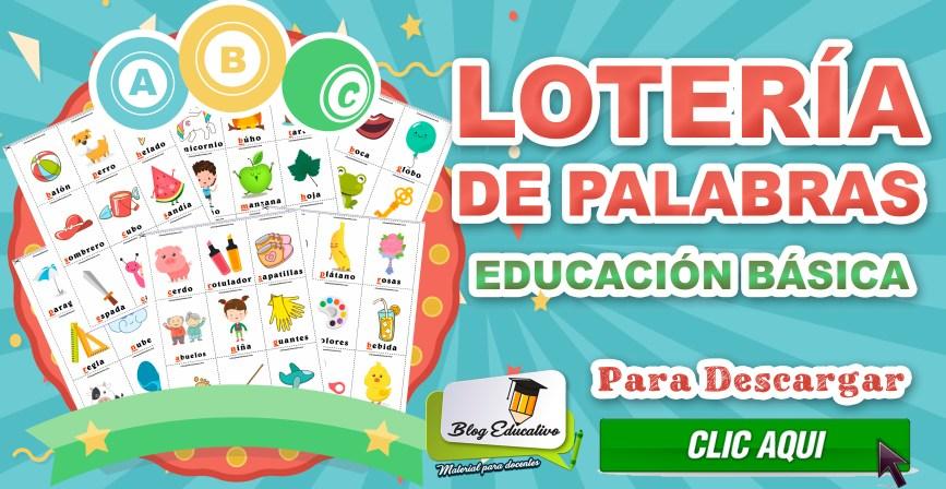 Lotería de Palabras Educación Básica - Blog Educativo