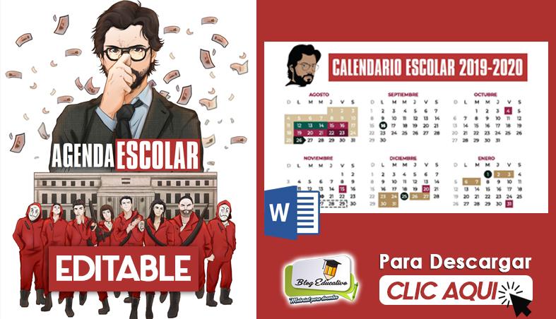 AGENDA ESCOLAR EDITABLE 2019 2020 CASA DE PAPEL