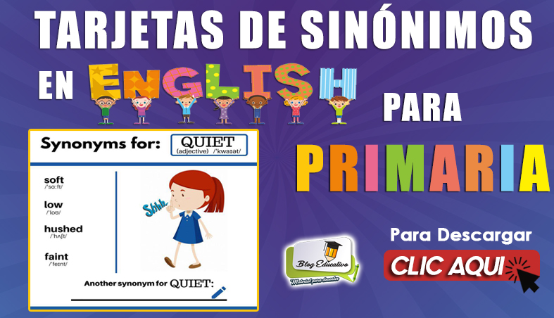 Tarjetas de Sinónimosen Ingles para Primaria- Blog Educativo
