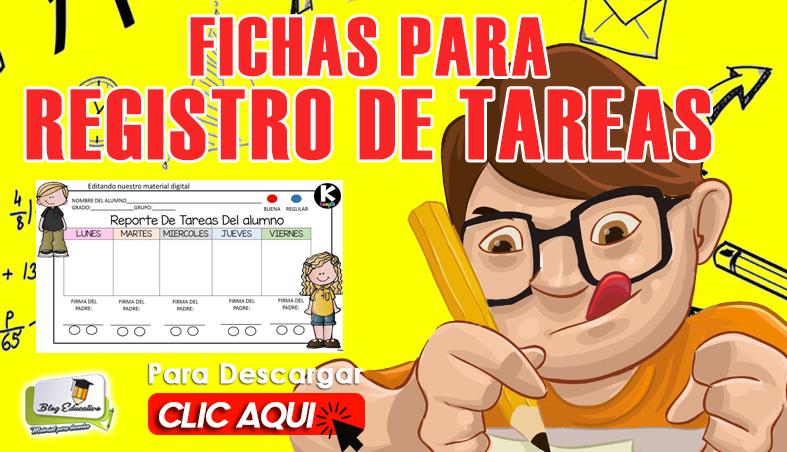 Fichas para Registro de Tareas Gratis - Blog Educativo