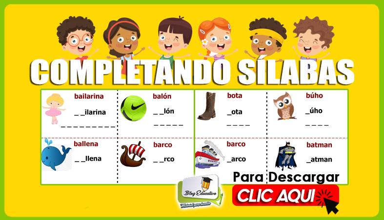 Completando Sílabas para Niños gratis - Blog Educativo