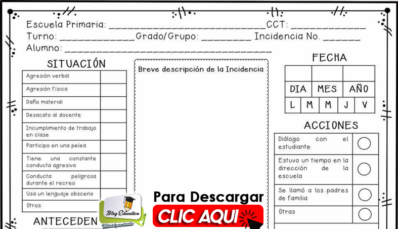 Fichas de Incidencias en Clases gratis - Blog Educatico