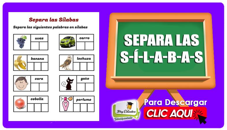 Separa las Sílabas Fichas para Primaria - Blog Educativo