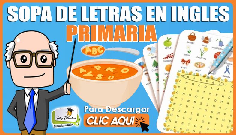 Sopa de letra en Ingles para Primaria - Blog Educativo
