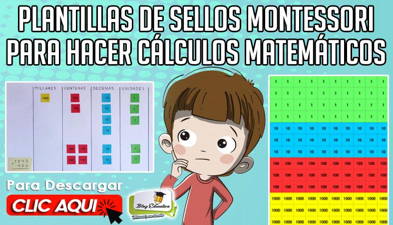 Plantillas de Sellos Montessori para hacer Cálculos Matemáticos
