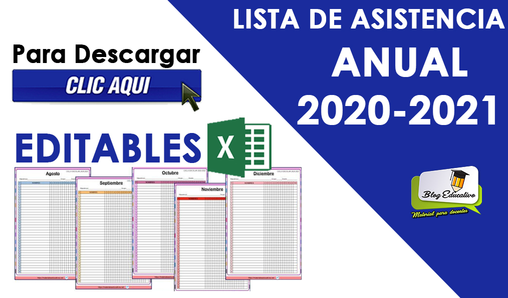 Lista de Asistencia Anual 2020 - 2021 Blog educativo