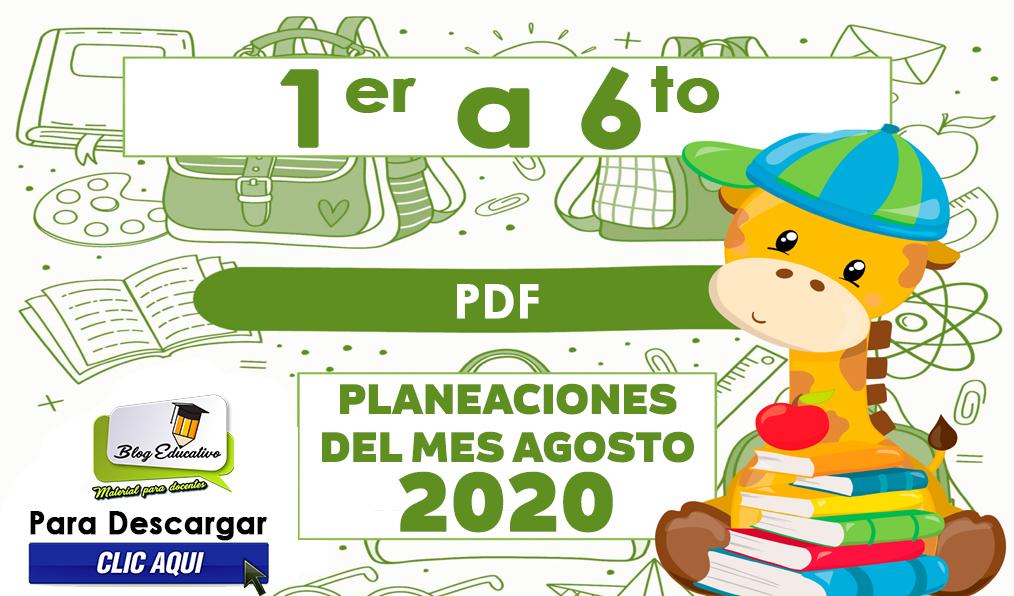 Planeaciones del Mes Agosto 2020 - Blog educativo