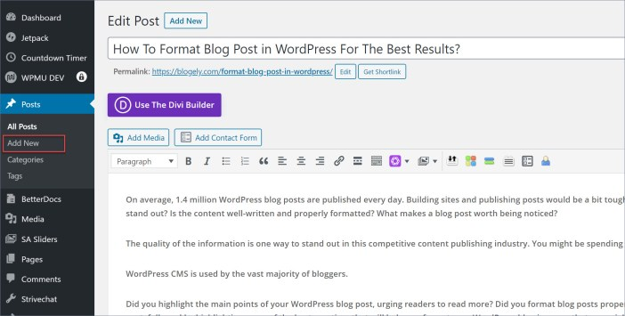 Blog post format - how to format blog post in wordpress