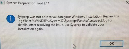 Windows 10 Sysprep Was Not Able To Validate Your Windows Installation