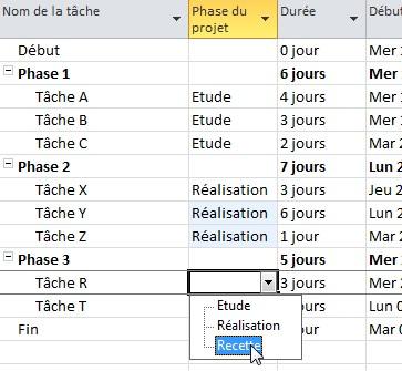 Mise en forme conditionnelle d'un diagramme de Gantt en fonction d'une liste déroulante de caractérisation d'un champ (3/6)
