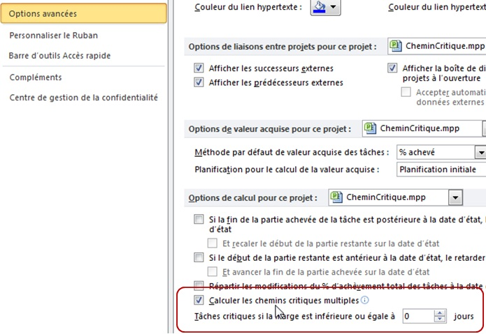 Calcul du chemin critique avec Microsoft Project 2010 (4/4)