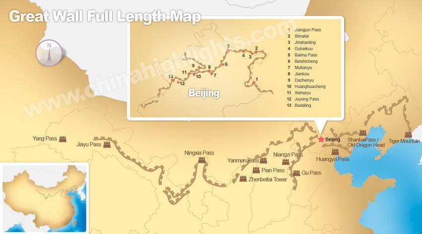 Chinesische Mauer Karte.Die Länge Der Chinesischen Mauer In Km Auf Der Karte Chinesische Mauer