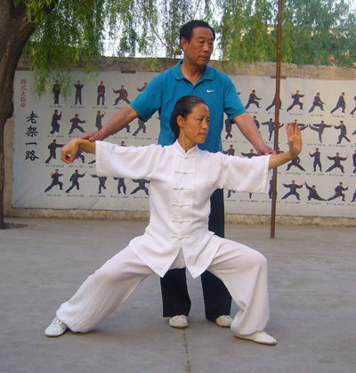 Yan HE et Wang Xian, héritier officiel de la 19ème génération du Tai Ji style Chen.