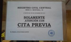 Registro Civil Central cita previa