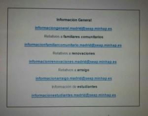 correos electrónicos información extranjería Madrid
