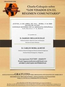 Cartel charla-coloquio Los VISADOS en el régimen comunitario