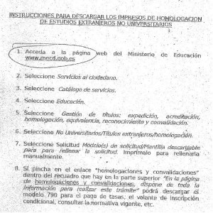 Foto instrucciones para descargar los impresos de homologación de estudios extranjeros NO universitarios.