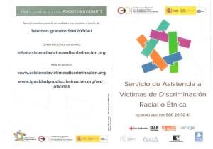 Foto 1 tríptico servicio víctimas discriminación racial o étnica