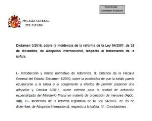 Foto título dictamen 3.2016 Fiscalía sobre kafala y adopción internacional
