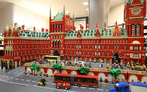 May0047334 Daily Telegraph - Lego for adults - St Pancras station model, Waterstones,London Picadilly 06/05/13