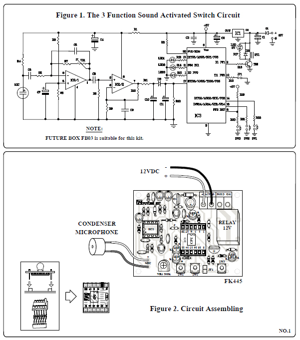 FK445, 3 FUNCTION SOUND ACTIVATED SWITCH, 음성인식, 소리감지, 구동영상