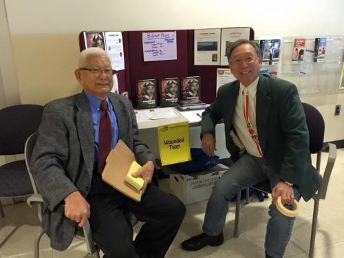 SAJCC Central Council members - ret. Prof. Min Yanagihashi as MC, and Wayne Tanaka, Chair of Mochitsuki event