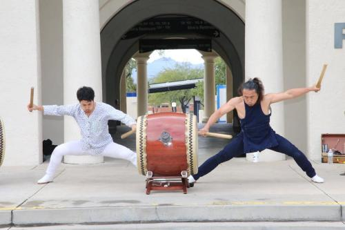 Ken Koshio (on the right) with K2 Enterprise from Phoenix, on taiko drum