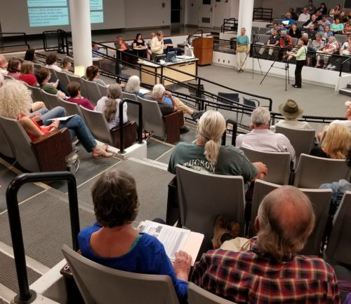 """150 people attended """"Dark Money, Charles Koch, and the UA Freedom Center"""" at the University of Arizona."""