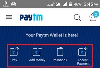 Paytm Wallet Options
