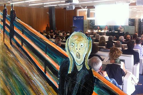 Montagem fotográfica realizada pelo autor: o grito de E.Munch sobre a imagem da última assembleia do Consejo Superior de Colegios de Arquitectos de Espanha, CSCAE, no passado mês de maio (fotografia de D. Carreño)