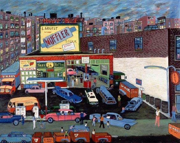 "Ralph Fasanella, ""Happy and Bud service station"" (1970)"