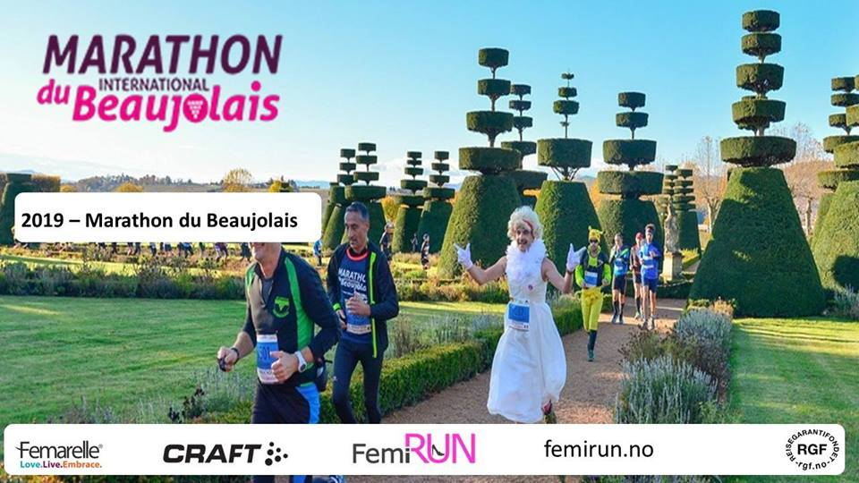 "FemiRUN Marathon du Beaujolais 13 km, halvmaraton, maraton eller ""Familiemaraton"" på 2,5 kilometer."
