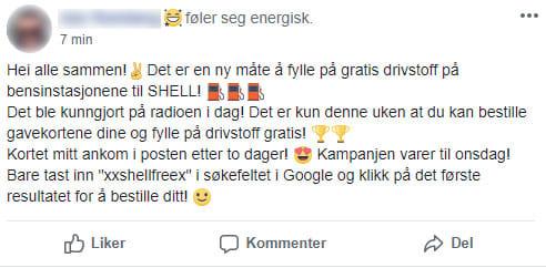 Shell-svindel på Facebook