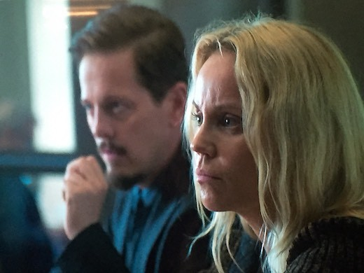 """Thure Lindhardt and Sofia Helin during the filming of Season 4 of """"The Bridge""""."""
