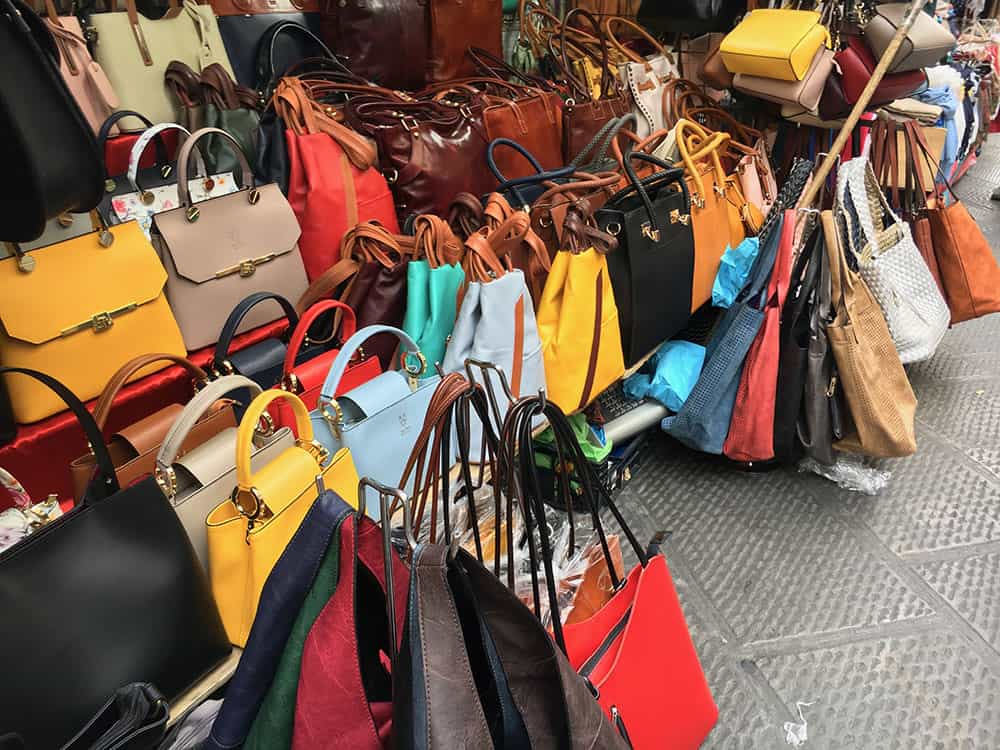 Handbags at Florence leather market