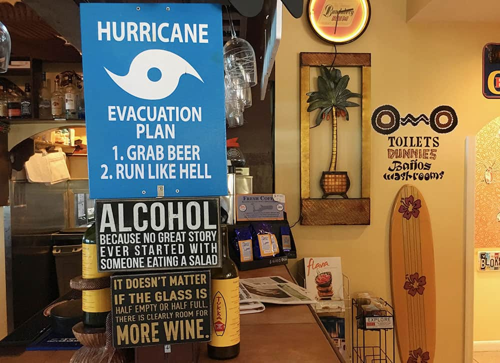 Funny hurricane advice in a bar