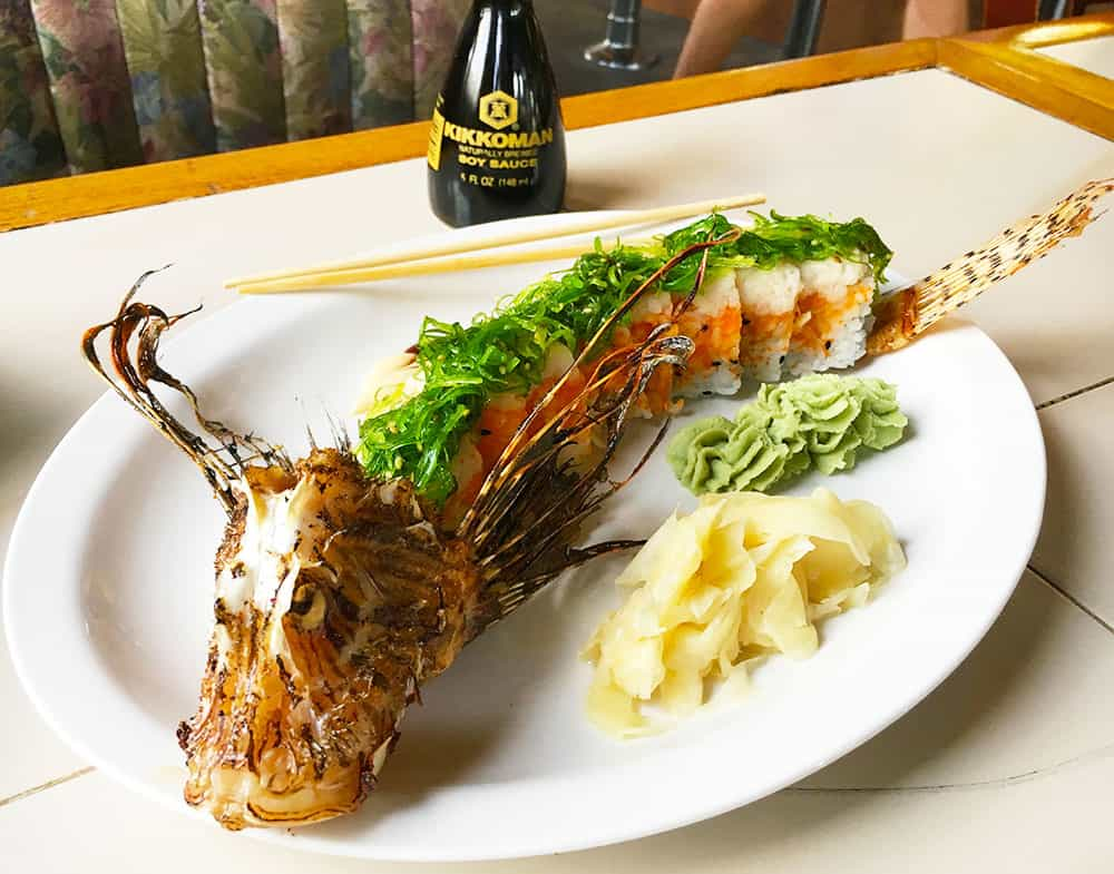 Lion fish sushi in Marathon, Florida Keys