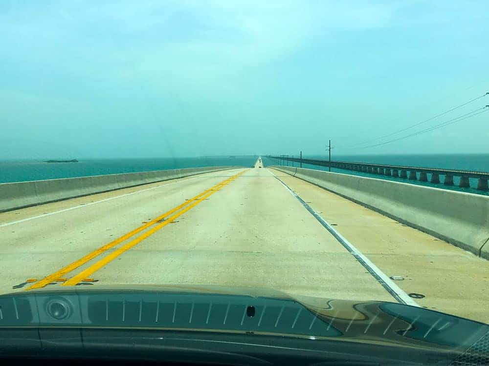 Miami to Key West road heading south