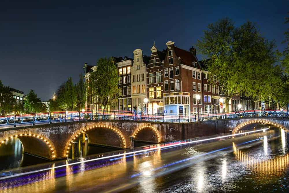 Amsterdam's bridges by night