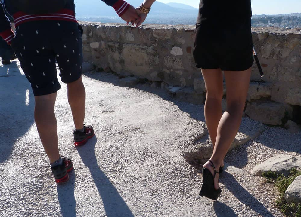 Inappropriate shoes at the Acropolis