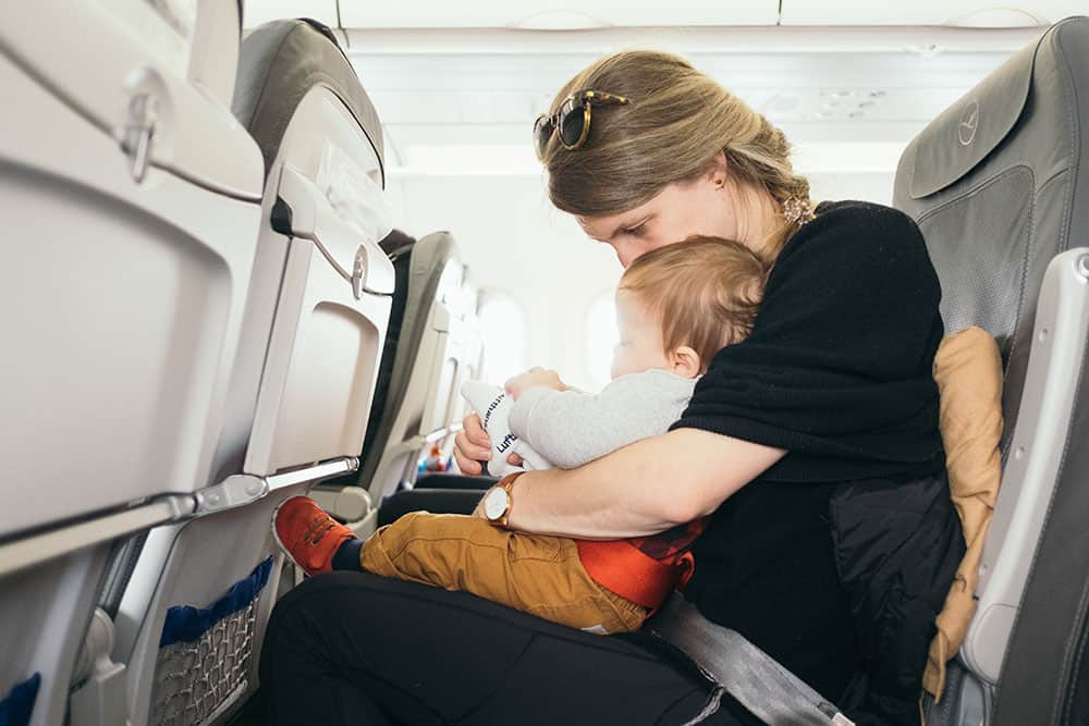 Mum and baby on plane