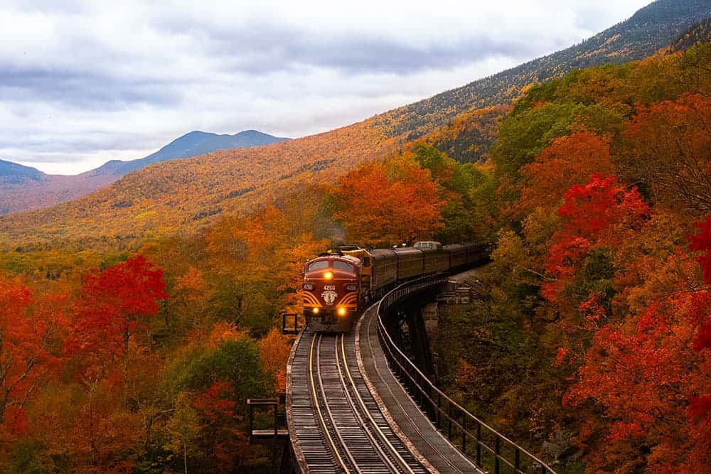 Train driving through New Hampshire fall foliage