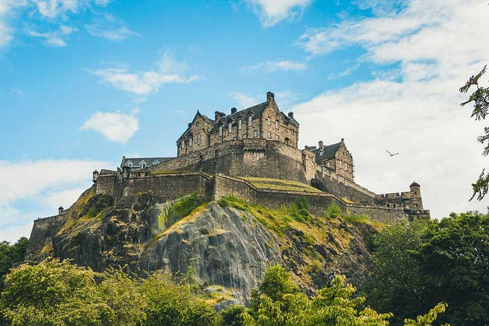 Edinburgh Castle perched on the hill