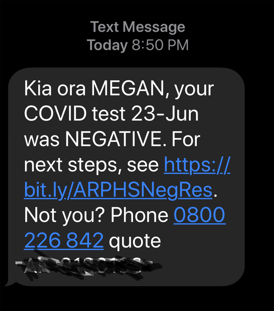 Covid test result text