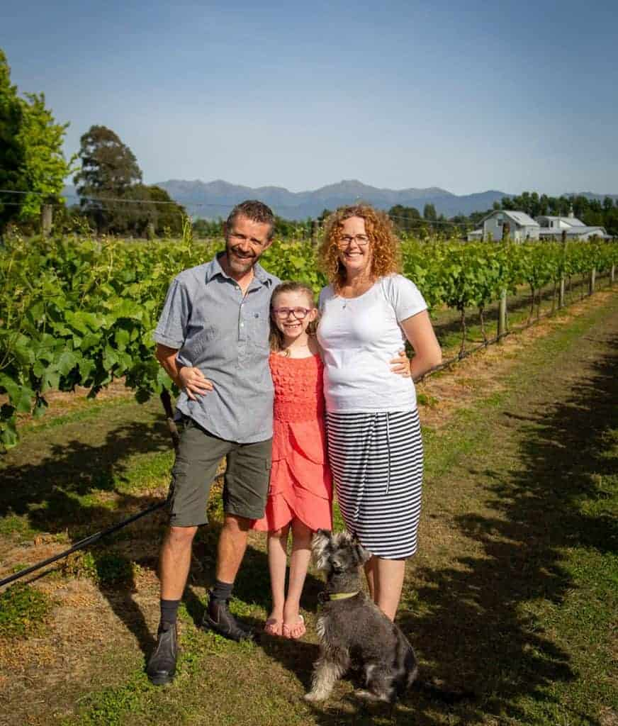 The Geary family in their vineyard Le Gra