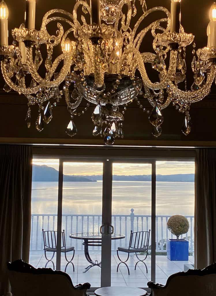 Chandelier and view at Peppers on the Point