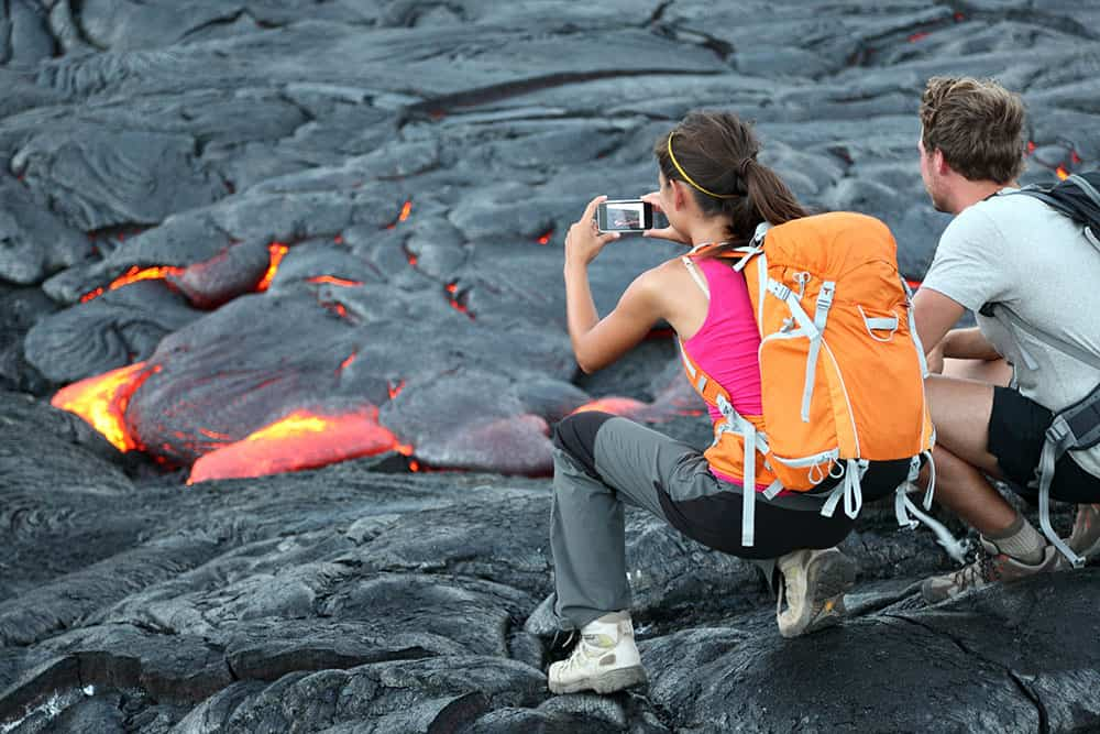 Photographing lava on Mt Kilauea