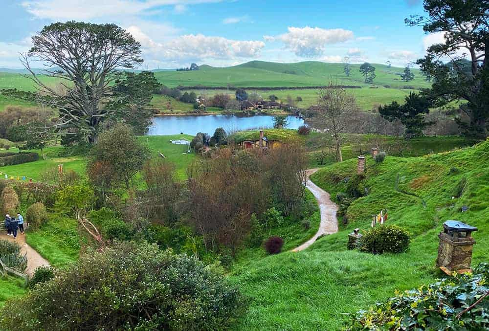 Looking over the Shire from Bilbo Baggins house on the Hobbiton movie set
