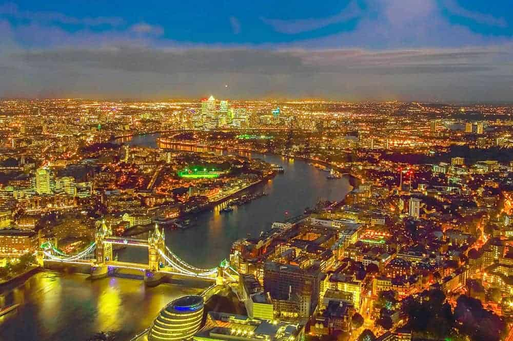 London aerial view at night