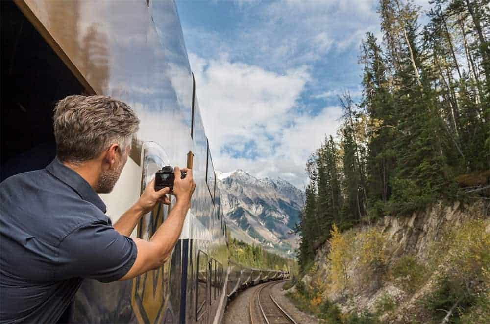 Taking photo from Rocky Mountaineer